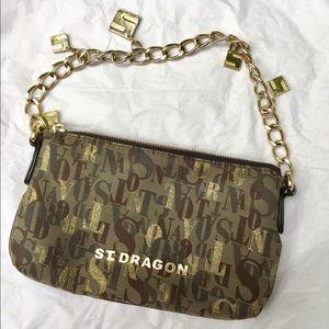 St. Dragon fabric and leather chain handbag (used)